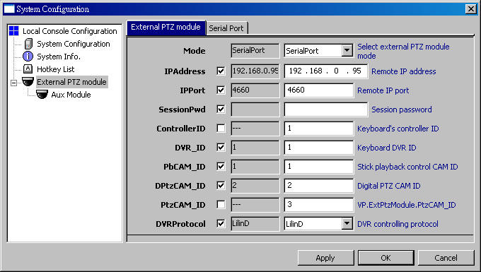 How to use PTZ keyboard (which is External PTZ Module) and LILIN PIH